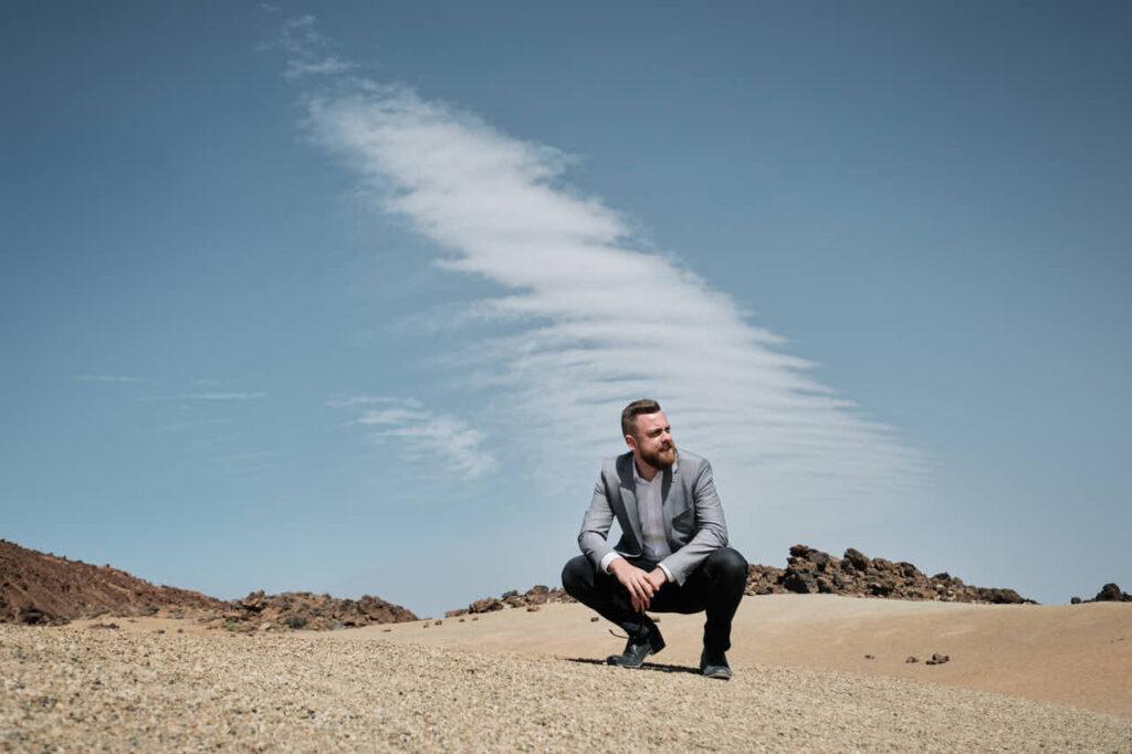 Geschäftsmann hat Fotoshooting auf Teneriffa mit Fotograf Ela und Chris für die ZDF Mediathek